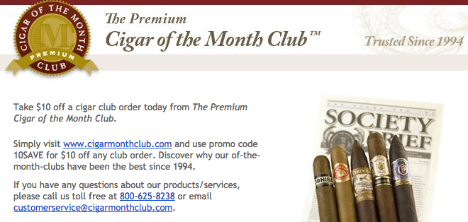 10 off cigar of the month club